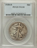 Walking Liberty Half Dollars: , 1938-D 50C VG10 PCGS. PCGS Population (206/4053). NGC Census:(61/2048). Mintage: 491,600. Numismedia Wsl. Price for proble...