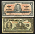 Canadian Currency: , BC-1 $1 1935;. BC-22b $2 1937.. ... (Total: 2 notes)