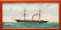 Maritime, MARITIME SHADOWBOX DIORAMA OF THE VALIANT BY J.J. MARISTANY.1893. 13-1/8 x 25-5/8 x 1-5/8 inches (33.3 x 65.1 ...