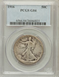 Walking Liberty Half Dollars: , 1916 50C Good 4 PCGS. PCGS Population (49/1626). NGC Census:(30/1241). Mintage: 608,000. Numismedia Wsl. Price for problem...