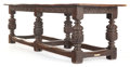 Furniture , AN ENGLISH OAK DINING TABLE. 16th century. 31-1/2 x 103 x 32-1/2inches (80.0 x 261.6 x 82.6 cm). The Elton M. Hyder, Jr. ...