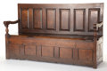 Furniture , AN ENGLISH OAK SIX-PANEL BOX SETTLE. Circa 1770. 41 x 69 x 22-1/4 inches (104.1 x 175.3 x 56.5 cm). The Elton M. Hyder, Jr...