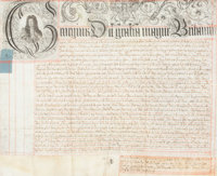 COURT OF THE KING'S BENCH, LETTERS PATENT 1718 Manuscript 27 x 30 inches (68.6 x 76.2 cm)  The Elton