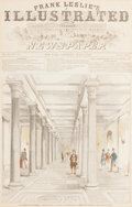 Fine Art - Work on Paper:Print, OUR WASHINGTON CAPITOL, CORRIDOR LEADING TO THE HALL OF REPRESENTATIVES . 19th century. Engraving. 21-1/2 x 17-1/2 inches (5...