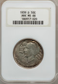 Commemorative Silver: , 1939-D 50C Arkansas MS66 NGC. NGC Census: (35/8). PCGS Population(92/6). Mintage: 2,104. Numismedia Wsl. Price for problem...