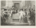 Prints, BENJAMIN WEST (American, 1738-1820). Oliver Cromwell, Dissolving the Long Parliament, April 1, 1789. Etching and engravi...
