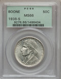 Commemorative Silver: , 1938-S 50C Boone MS66 PCGS. PCGS Population (130/33). NGC Census:(107/32). Mintage: 2,100. Numismedia Wsl. Price for probl...