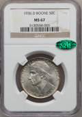 Commemorative Silver: , 1936-D 50C Boone MS67 NGC. CAC. NGC Census: (9/0). PCGS Population(22/0). Mintage: 5,005. Numismedia Wsl. Price for proble...