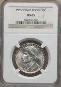 Commemorative Silver: , 1935/34-D 50C Boone MS65 NGC. NGC Census: (157/176). PCGSPopulation (238/231). Mintage: 2,003. Numismedia Wsl. Price forp...