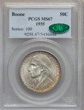 Commemorative Silver: , 1935 50C Boone MS67 PCGS. CAC. PCGS Population (37/0). NGC Census:(23/1). Mintage: 10,000. Numismedia Wsl. Price for probl...