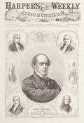Fine Art - Work on Paper:Print, THE CHIEF JUSTICE OF THE UNITED STATES, SALMON P. CHASE. Harper's Weekly, December 24, 1864. Engraving. 17-1/2 x 12-1/2 inch...