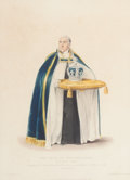 Fine Art - Work on Paper:Print, PAIR OF ENGLISH PRINTS: THE DEAN OF WESTMINSTER, JOHN IRELAND, IN A RICH COPE, JULY 19, 1821 AND OFFICER OF THE JEWEL HOUSE, A... (Total: 2 Items)