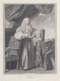 SIR JOSHUA REYNOLDS (British, 1723-1792) Lord Camden, 1766 Engraving 35 x 29 inches (88.9 x 73.7
