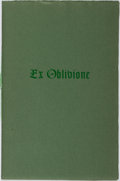Books:Science Fiction & Fantasy, Roy A. Squires [publisher]. H. P. Lovecraft. LIMITED. Ex Oblivione. Roy A. Squires, 1969. First edition, first print...