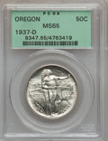 Commemorative Silver: , 1937-D 50C Oregon MS65 PCGS. PCGS Population (945/1760). NGCCensus: (507/1477). Mintage: 12,008. Numismedia Wsl. Price for...