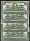 Canadian Currency: , BC-21d $1 1937 Four Examples.. ... (Total: 4 notes)