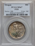 Commemorative Silver: , 1928 50C Oregon MS67 PCGS. PCGS Population (62/2). NGC Census:(81/3). Mintage: 6,028. Numismedia Wsl. Price for problem fr...