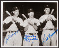 Baseball Collectibles:Photos, Mickey Mantle, Joe DiMaggio and Ted Williams Multi SignedPhotograph....