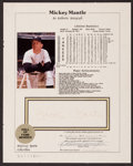 Baseball Collectibles:Others, 1988 Mickey Mantle Signed Page. ...
