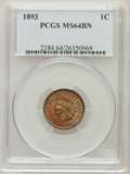 Indian Cents: , 1893 1C MS64 Brown PCGS. PCGS Population (57/6). NGC Census:(186/80). Mintage: 46,642,196. Numismedia Wsl. Price for probl...