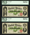 Large Size:Legal Tender Notes, Fr. 61a $5 1862 Legal Tender Cut Sheet of Four PCGS Choice AboutNew 58PPQ.. ... (Total: 4 notes)