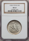 Commemorative Silver: , 1938-S 50C Texas MS67 NGC. NGC Census: (79/7). PCGS Population(54/1). Mintage: 3,814. Numismedia Wsl. Price for problem fr...
