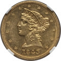Liberty Half Eagles: , 1843 $5 AU58 NGC. NGC Census: (130/68). PCGS Population (24/23).Mintage: 611,205. Numismedia Wsl. Price for problem free N...