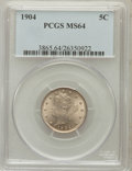 Liberty Nickels: , 1904 5C MS64 PCGS. PCGS Population (361/255). NGC Census:(246/203). Mintage: 21,404,984. Numismedia Wsl. Price forproblem...