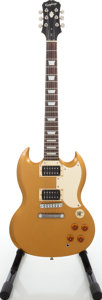Musical Instruments:Electric Guitars, 2006 Epiphone Custom Shop SG Gold Sparkle Solid Body ElectricGuitar, Serial # EE060110582....