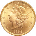 Liberty Double Eagles, 1896 $20 MS64+ PCGS. CAC....