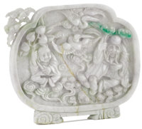 A Chinese Lavender Carved Jade Plaque of Shou-Xing, Star God of Longevity  Unknown maker, Chinese 19th/20th