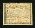 Colonial Notes:Rhode Island, Rhode Island July 2, 1780 $4 New. An otherwise crisp and wellembossed note that would grade Choice New but for the tape rep...