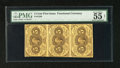 """Fractional Currency:First Issue, Fr. 1230 Vertical Strip of Three 5c First Issue PMG AboutUncirculated Net 55. PMG comments on this vertical strip """"foreign..."""