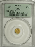 California Fractional Gold, 1876 25C Indian Octagonal 25 Cents, BG-799C, High R.4, MS64PCGS....