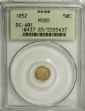 California Fractional Gold, 1852 50C Liberty Round 50 Cents, BG-401, R.3, MS65 PCGS....