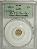 California Fractional Gold, 1878/6 25C Indian Round 25 Cents, BG-884, High R.5, AU58 PCGS....