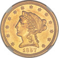 Liberty Quarter Eagles, 1857-S $2 1/2 MS61 NGC....