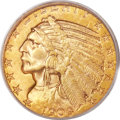 Indian Half Eagles, 1909-S $5 MS62 PCGS....