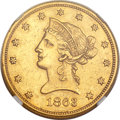 Liberty Eagles, 1863 $10 -- Tooled, Cleaned -- NGC Details. AU....