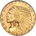 Indian Half Eagles, 1910 $5 MS64 NGC. CAC....