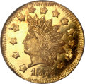 California Fractional Gold, 1874 $1 Indian Octagonal 1 Dollar, BG-1124, High R.4, MS64 DeepMirror Prooflike NGC....