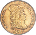 Early Half Eagles, 1804 $5 Small 8 Over Large 8 AU55 PCGS. BD-5, High R.6....