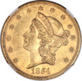 Liberty Double Eagles, 1854/1854 $20 Small Date AU55 NGC. Breen-7167....