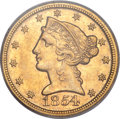 Liberty Half Eagles, 1854-D $5 Large D AU55 PCGS. Variety 36-AA....