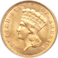 Three Dollar Gold Pieces, 1887 $3 MS64 PCGS. CAC....