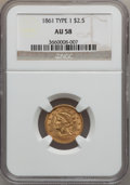 Liberty Quarter Eagles, 1861 $2 1/2 Old Reverse, Type One AU58 NGC....