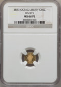 California Fractional Gold, 1873 50C Liberty Octagonal 50 Cents, BG-915, Low R.4, MS66Prooflike NGC....