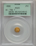 California Fractional Gold, 1868 25C Indian Octagonal 25 Cents, BG-799T, High R.5, MS65PCGS....