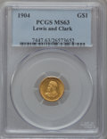 Commemorative Gold: , 1904 G$1 Lewis and Clark MS63 PCGS. PCGS Population (381/1043). NGCCensus: (186/716). Mintage: 10,025. Numismedia Wsl. Pri...