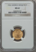 Commemorative Gold: , 1926 $2 1/2 Sesquicentennial MS62 NGC. NGC Census: (1178/5480).PCGS Population (1357/8707). Mintage: 46,019. Numismedia Ws...